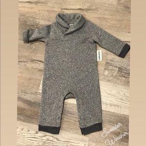 NWT Shawl Collared Sweater Onesie. Boy 12-18m